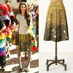 Maeve Feathered Village Silk Blend Bird Skirt 2